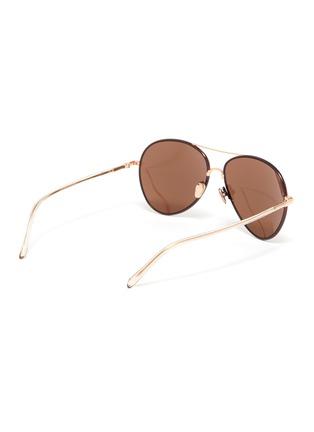Figure View - Click To Enlarge - LINDA FARROW - Metal Frame Aviator Sunglasses
