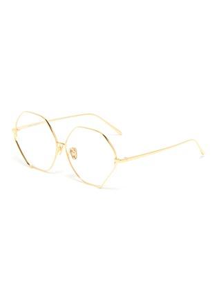 Main View - Click To Enlarge - LINDA FARROW - Metal frame hexagon optical glasses