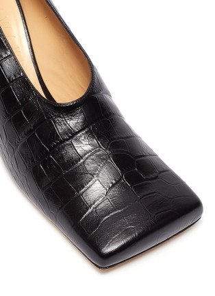 Detail View - Click To Enlarge - A.W.A.K.E. MODE - 'Matilda' square toe croc embossed leather pumps