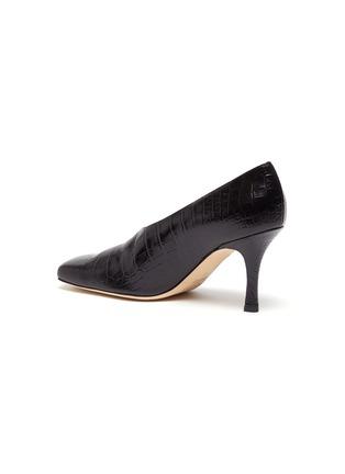 - A.W.A.K.E. MODE - 'Matilda' square toe croc embossed leather pumps