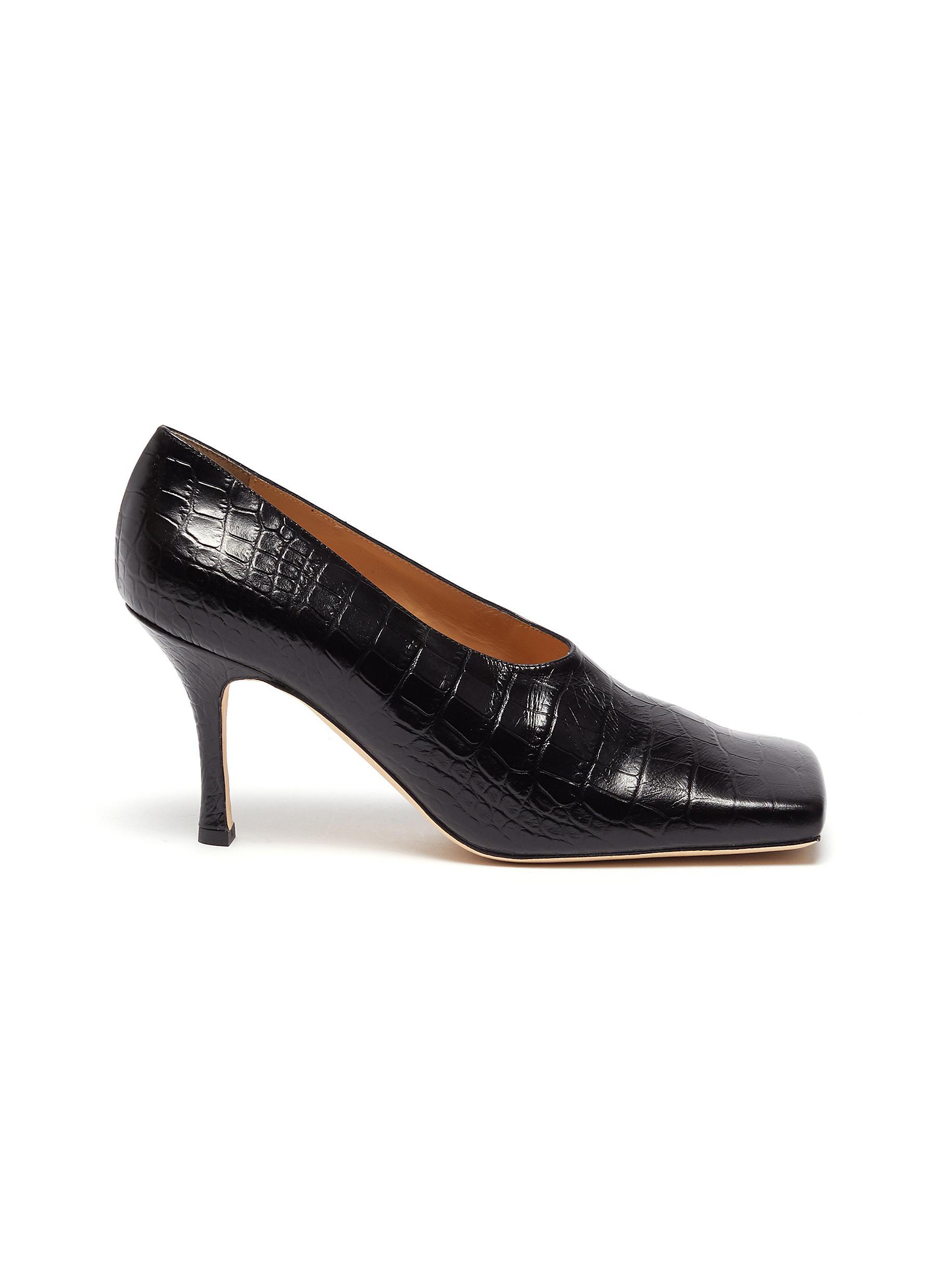A.W.A.K.E. Mode High Heels Matilda square toe croc embossed leather pumps