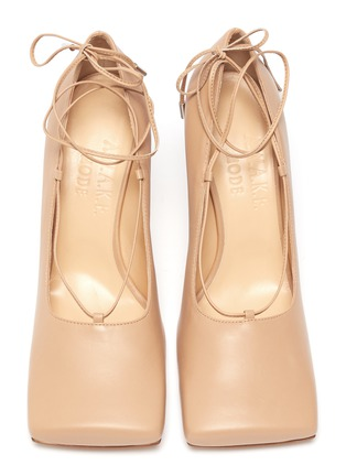 Detail View - Click To Enlarge - A.W.A.K.E. MODE - 'Ursula' square toe ankle tie leather pumps