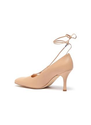 - A.W.A.K.E. MODE - 'Ursula' square toe ankle tie leather pumps