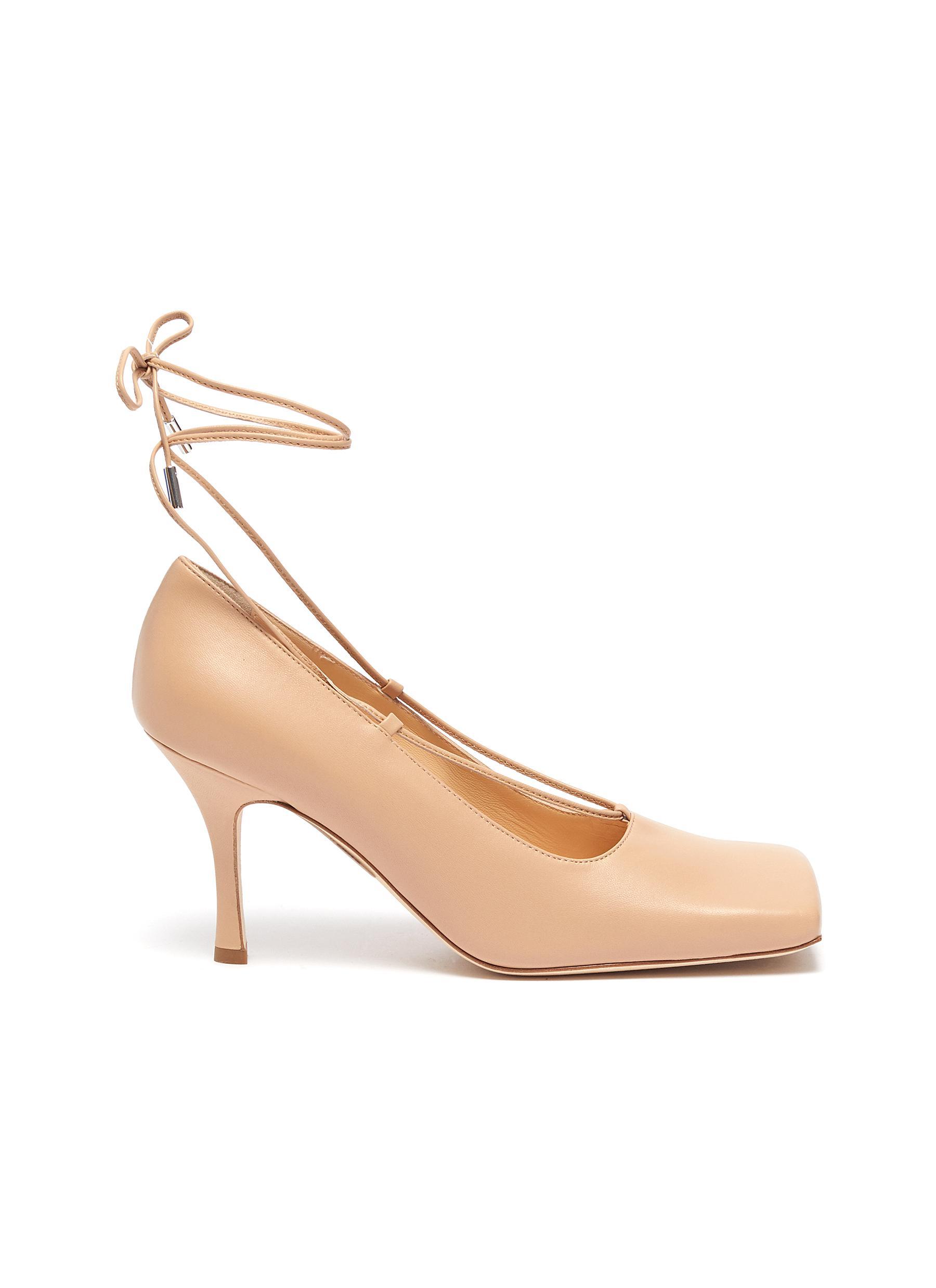 A.W.A.K.E. Mode High Heels Ursula square toe ankle tie leather pumps