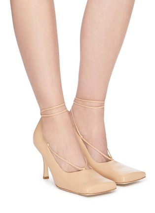 Figure View - Click To Enlarge - A.W.A.K.E. MODE - 'Ursula' square toe ankle tie leather pumps