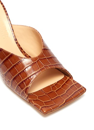 Detail View - Click To Enlarge - A.W.A.K.E. MODE - 'Mariom' square toe croc embossed leather mules