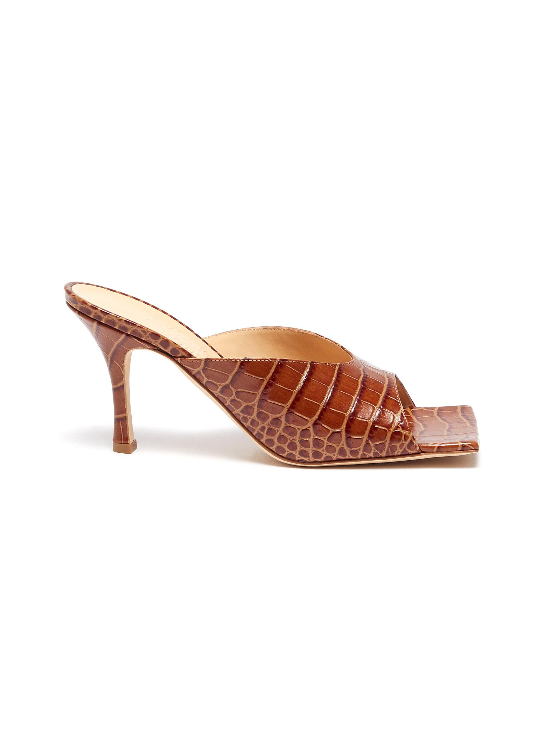 A.W.A.K.E. Mode High Heels Mariom square toe croc embossed leather mules