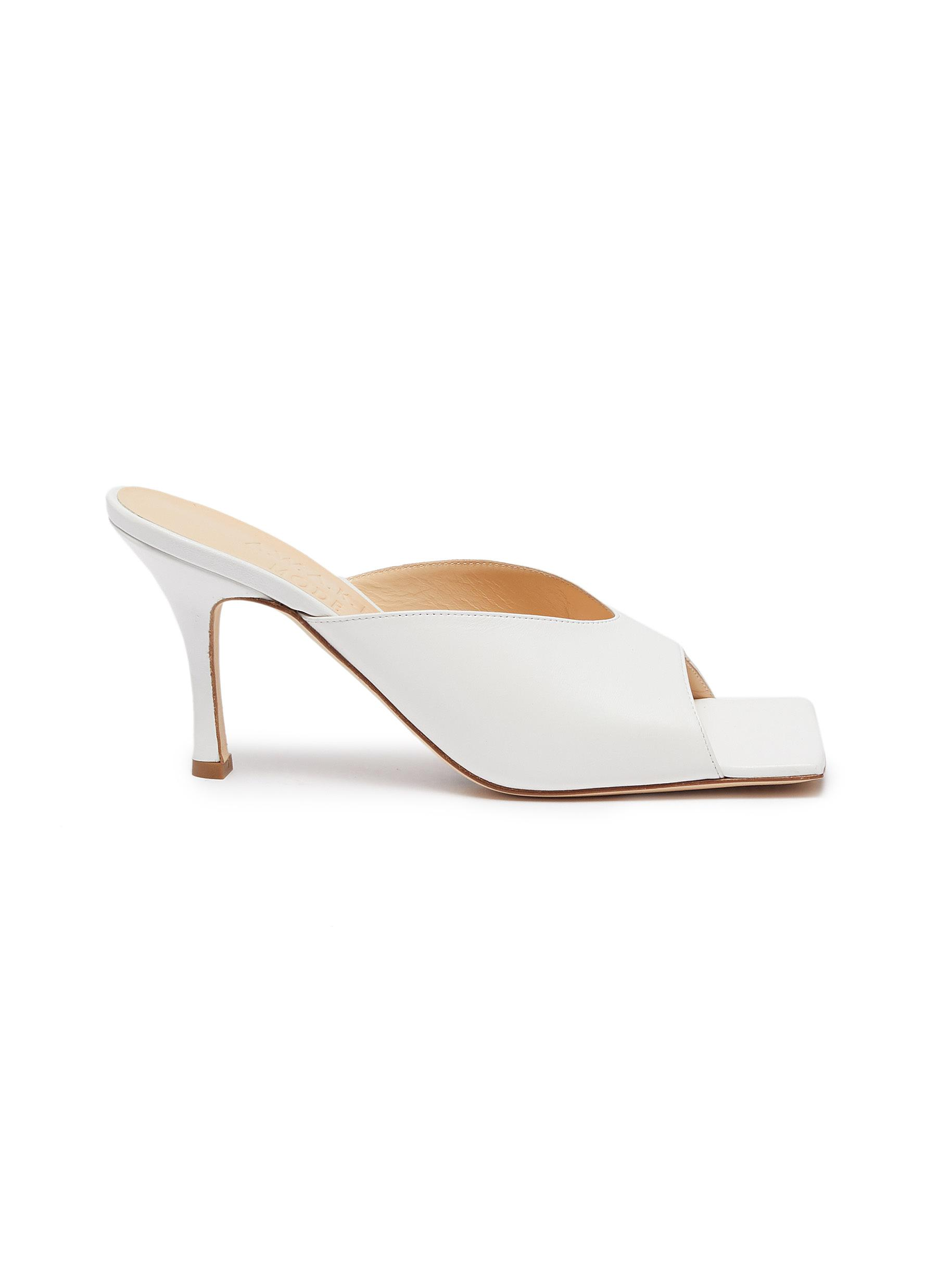 A.W.A.K.E. Mode High Heels MARIOM SQUARE TOE LEATHER MULES