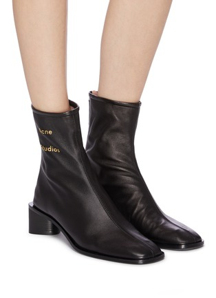 Figure View - Click To Enlarge - ACNE STUDIOS - Block heel branded leather boots