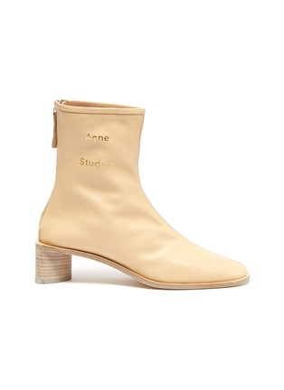 Main View - Click To Enlarge - ACNE STUDIOS - Block heel branded leather boots