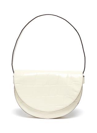 Main View - Click To Enlarge - STAUD - 'Half moon' croc embossed leather shoulder bag