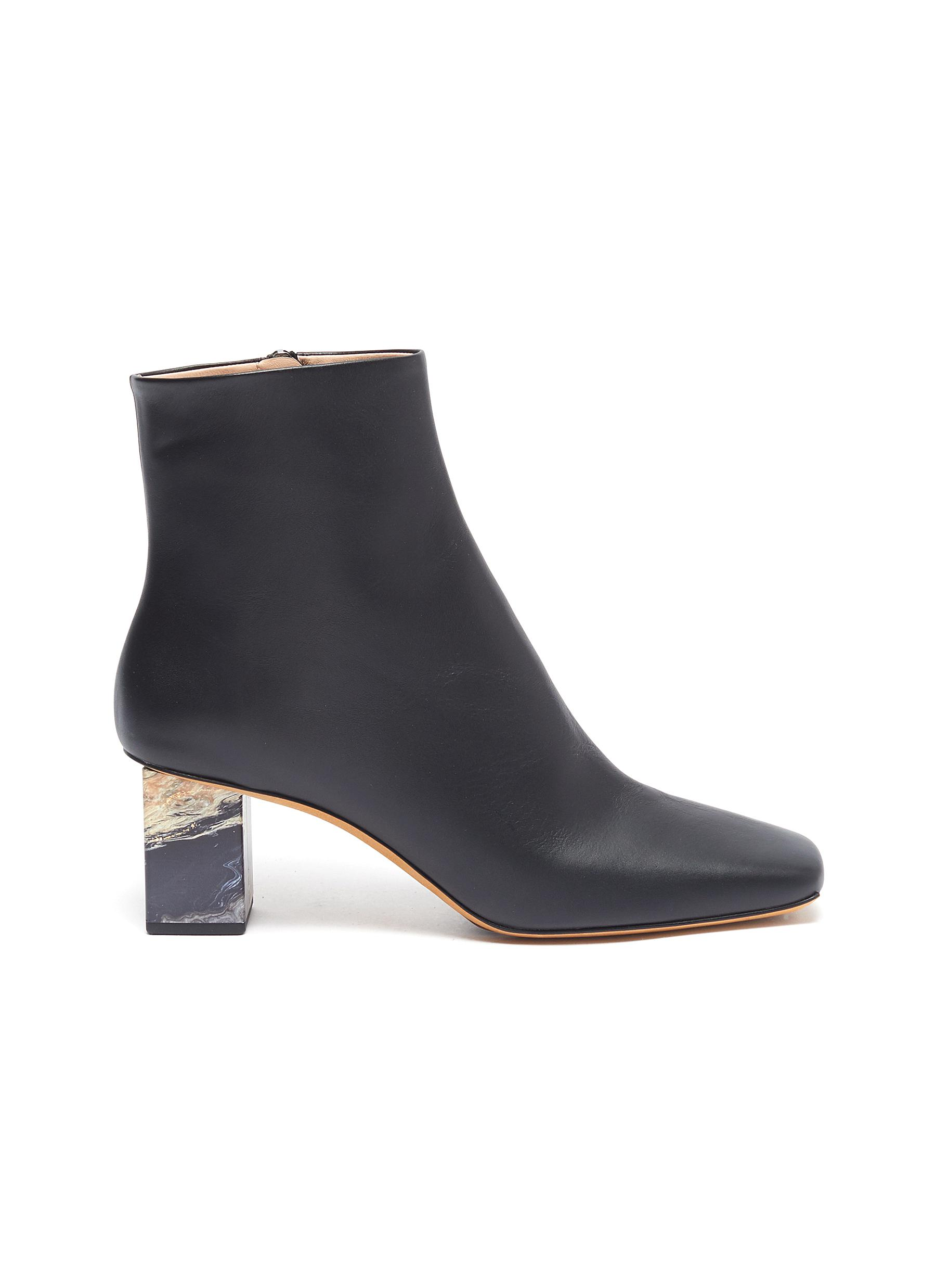 Gray Matters Boots Marble heel leather ankle boots