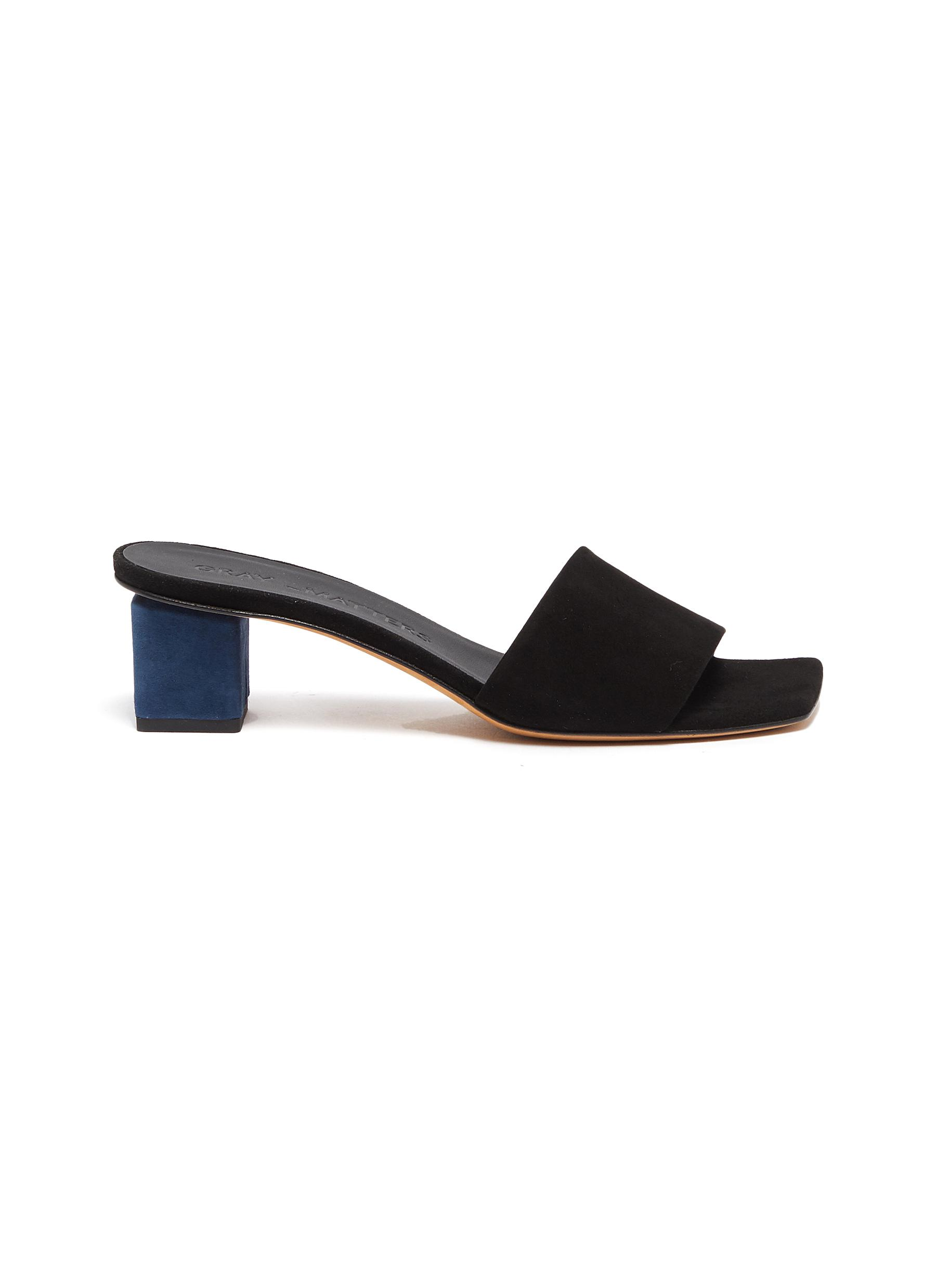 Gray Matters  Mildred geometric heel leather sandals