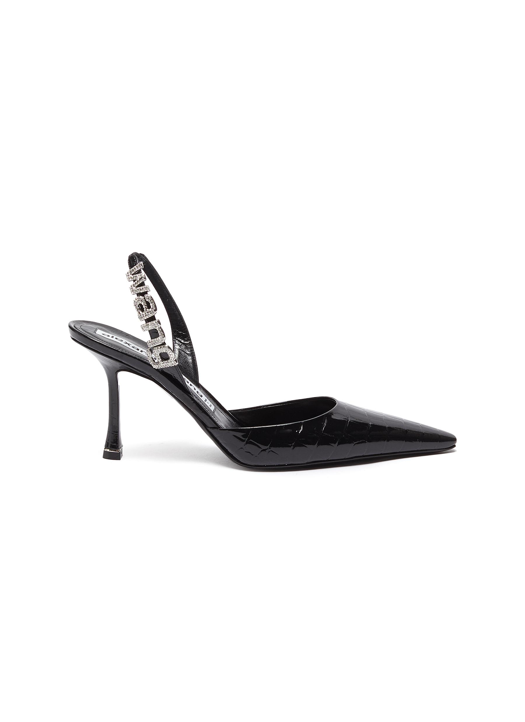 Alexander Wang High Heels Grace croc embossed leather slingback pumps