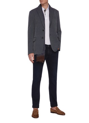 Figure View - Click To Enlarge - BRIONI - Checked notch lapel cotton jersey blazer