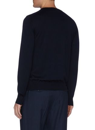 Back View - Click To Enlarge - BRIONI - Logo embroidered crewneck knit sweatshirt