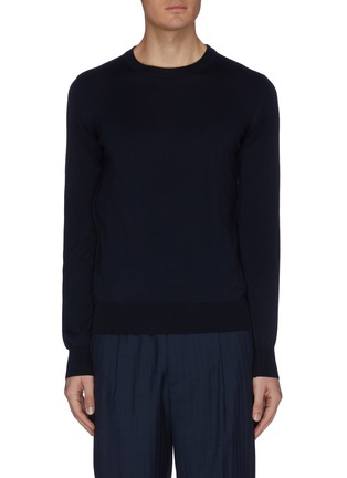 Main View - Click To Enlarge - BRIONI - Logo embroidered crewneck knit sweatshirt