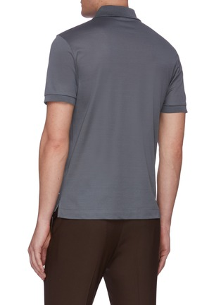Back View - Click To Enlarge - BRIONI - Logo embroidered cotton polo