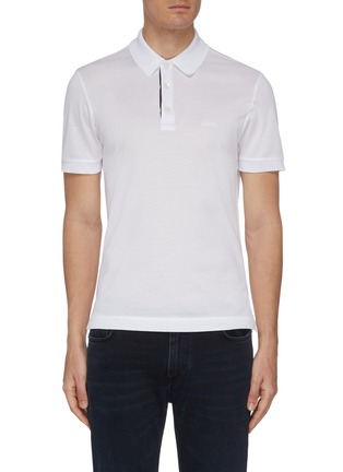 Main View - Click To Enlarge - BRIONI - Logo embroidered cotton polo