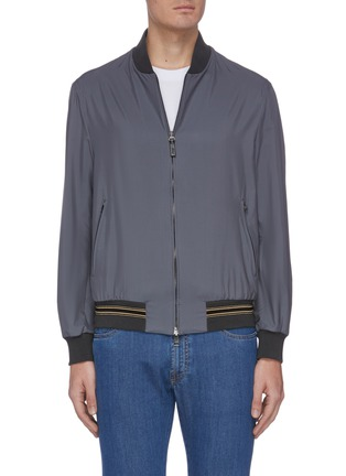 Main View - Click To Enlarge - BRIONI - Contrast hem silk bomber