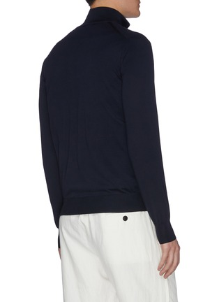 Back View - Click To Enlarge - BRIONI - Logo embroidered zip up knit jacket
