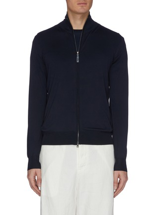 Main View - Click To Enlarge - BRIONI - Logo embroidered zip up knit jacket