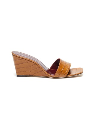 Main View - Click To Enlarge - STAUD - 'Billie' croc embossed leather wedge sandals