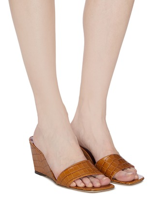 Figure View - Click To Enlarge - STAUD - 'Billie' croc embossed leather wedge sandals