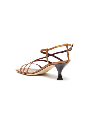 - STAUD - Mismatched strappy croc embossed leather sandals