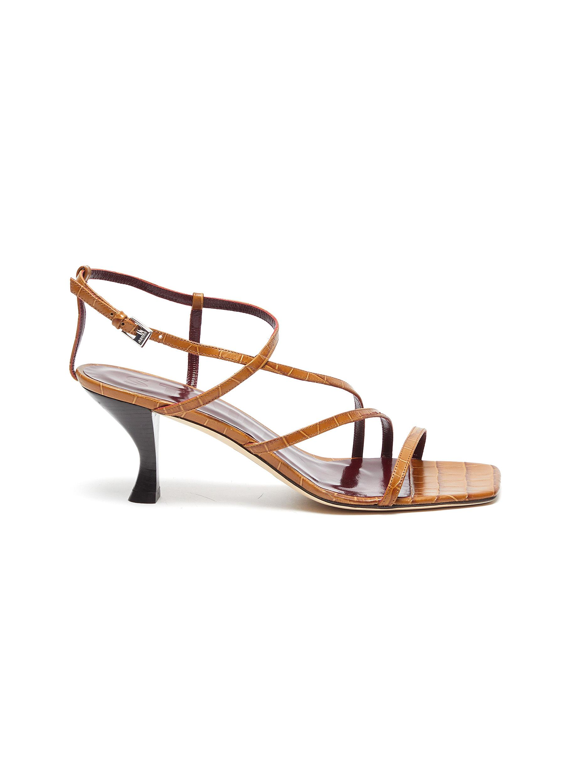 shop Staud Mismatched strappy croc embossed leather sandals online
