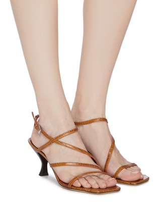 Figure View - Click To Enlarge - STAUD - Mismatched strappy croc embossed leather sandals