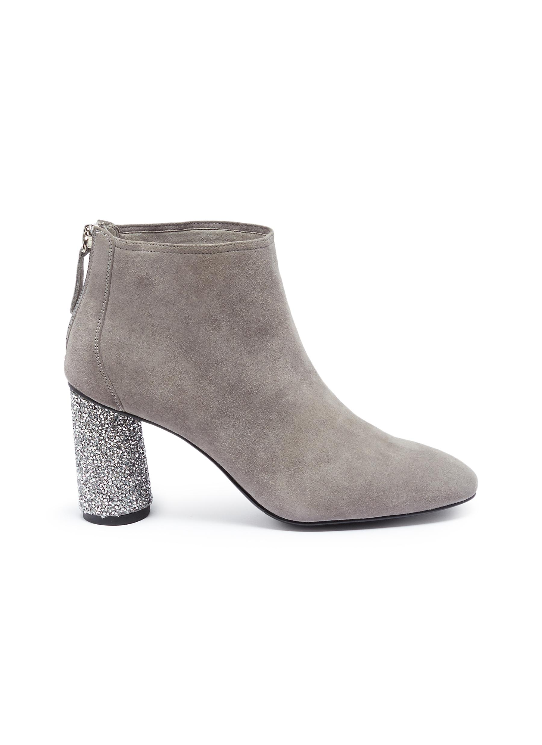 Gino strass heel suede ankle boots by Pedder Red
