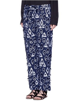 Front View - Click To Enlarge - Chloé - Geometric frayed jacquard dropped crotch pants