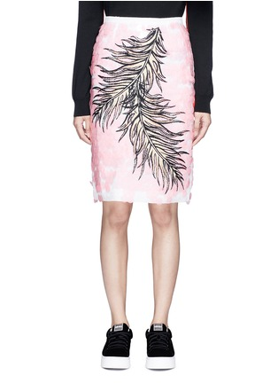 Main View - Click To Enlarge - Emilio Pucci - Sequin leaf embroidery lace pencil skirt