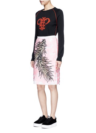 Figure View - Click To Enlarge - Emilio Pucci - Sequin leaf embroidery lace pencil skirt