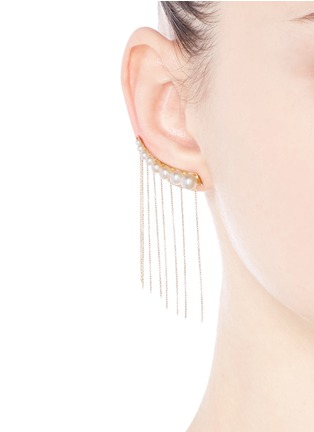 Figure View - Click To Enlarge - Sophie Bille Brahe - x sacai 002 long chain fringe pearl single creeper earring