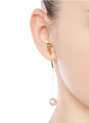 Figure View - Click To Enlarge - Sophie Bille Brahe - x sacai 006 pearl drop 14k yellow gold single earring
