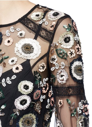 Detail View - Click To Enlarge - Needle & Thread - 'Woodland' lace trim embellished tulle maxi dress