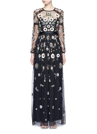 Main View - Click To Enlarge - Needle & Thread - 'Woodland' lace trim embellished tulle maxi dress