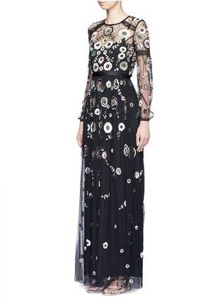 Figure View - Click To Enlarge - Needle & Thread - 'Woodland' lace trim embellished tulle maxi dress