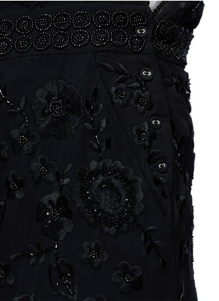 Detail View - Click To Enlarge - Needle & Thread - Floral embroidery embellished georgette dungarees