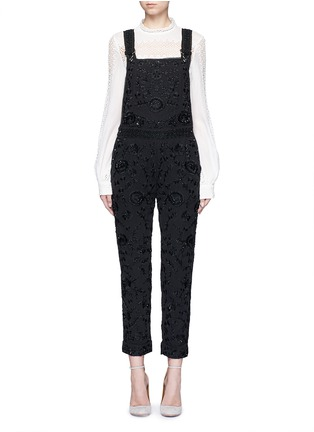 Main View - Click To Enlarge - Needle & Thread - Floral embroidery embellished georgette dungarees