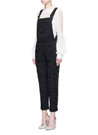 Figure View - Click To Enlarge - Needle & Thread - Floral embroidery embellished georgette dungarees