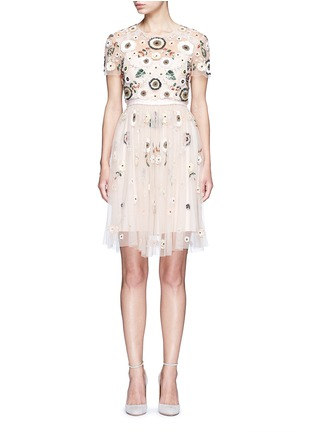Main View - Click To Enlarge - Needle & Thread - 'Woodland' lace trim embellished tulle dress
