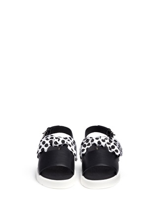 Front View - Click To Enlarge - MOTHER OF PEARL - 'Ordell' spot bow leather sandals