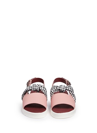 Front View - Click To Enlarge - MOTHER OF PEARL - 'Ordell' gingham check bow leather sandals