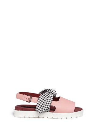 Main View - Click To Enlarge - MOTHER OF PEARL - 'Ordell' gingham check bow leather sandals