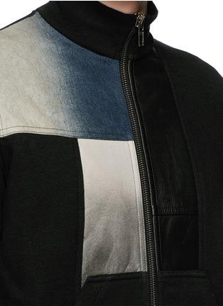 Detail View - Click To Enlarge - Rick Owens DRKSHDW - Leather denim patchwork sweat jacket