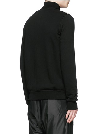 Back View - Click To Enlarge - Rick Owens DRKSHDW - Leather denim patchwork sweat jacket