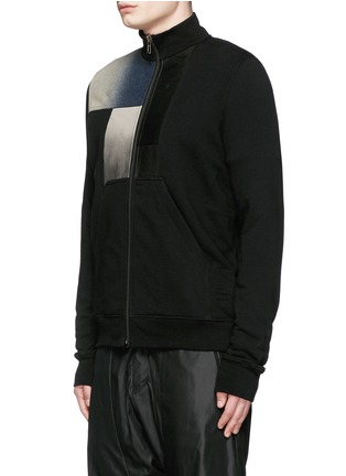 Front View - Click To Enlarge - Rick Owens DRKSHDW - Leather denim patchwork sweat jacket